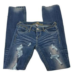 Juniors Almost Famous Distressed Low Rise Jeans